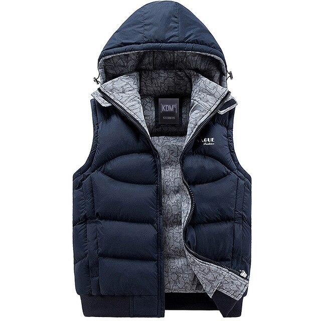 Новых людей куртка без рукавов весте homme зима мода свободного покроя пальто с капюшоном хлопок-ватник мужской жилет мужчин утолщение жилет