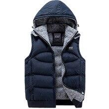Neue Mens Jacket Sleeveless veste homme Winter Casual Mäntel Männliche Mit Kapuze Cotton-Padded herren Weste männer Verdickung weste