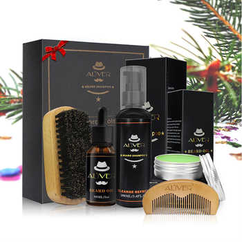 Aliver Beard Clean Set  With Essential Shampoo Brush Comb Oil Cream for Men Makes Soft Cleanse Refresh and Nature Grooming kit - DISCOUNT ITEM  0% OFF All Category