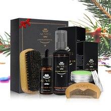 Aliver Beard Clean Set 에센셜 샴푸 브러시 빗 오일 크림 남성용 소프트 클렌징 리프레쉬 및 자연 그루밍 키트