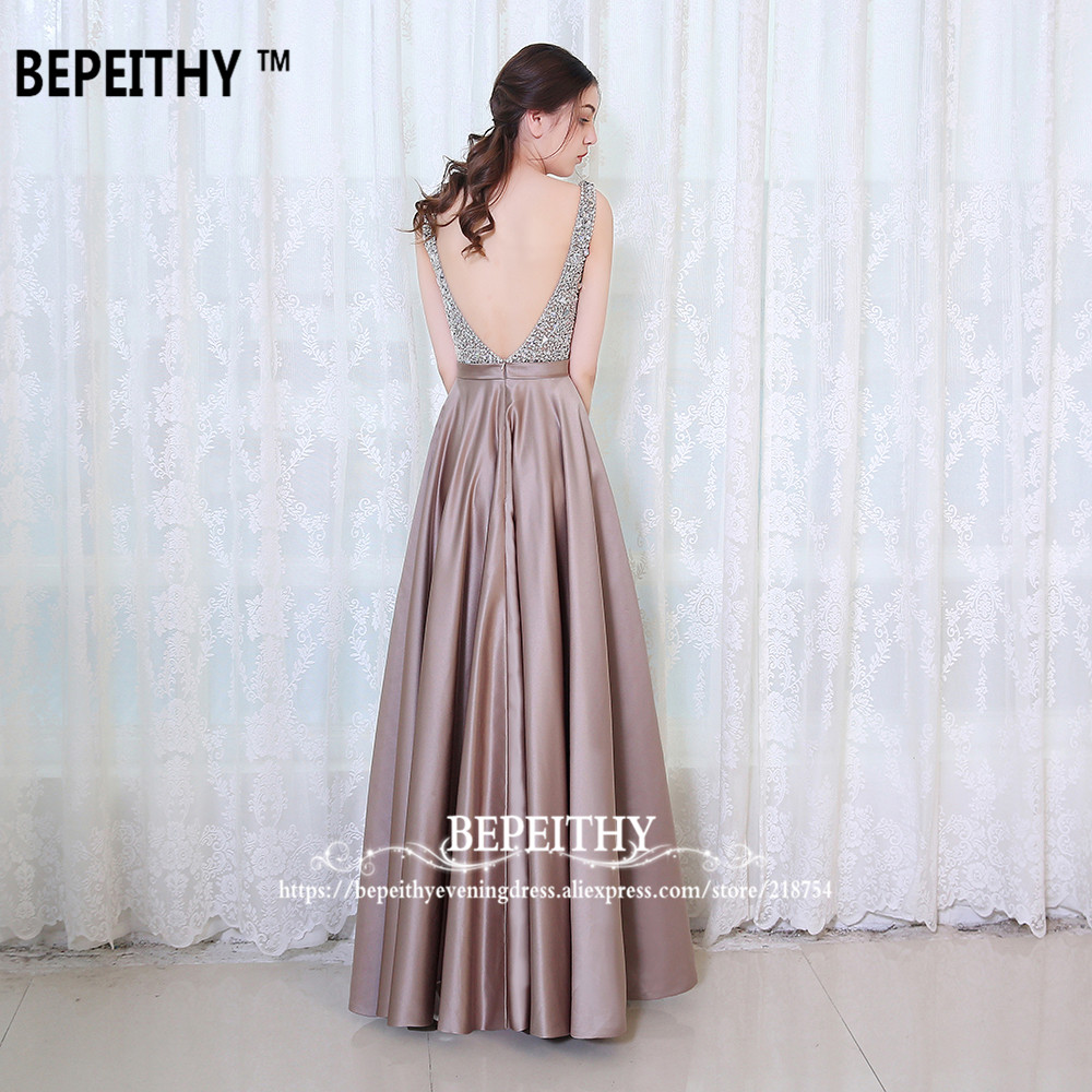 bepeithy с V-образным вырезом бусины и бисер лиф с открытой спиной линии длинное вечернее платье элегантные вечерние праздничное платье быстрая доставка для выпускного бала
