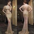 Sparkly de oro Lentejuelas Vestido de Noche Atractivo de La Sirena Backless Largo Barato Vestidos de Noche Vestidos Vestido De Madrina De la Arabia Saudita