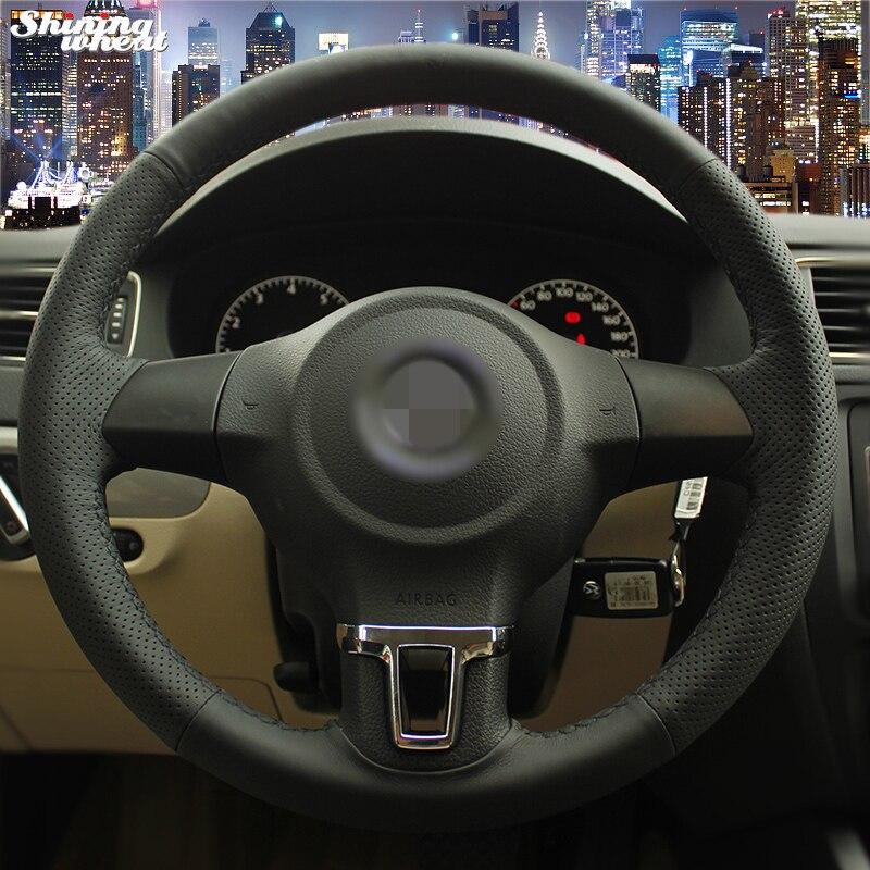 Brillant blé Noir Couverture de Volant En Cuir pour Volkswagen Golf 6 Mk6 VW Polo Sagitar Bora Santana Jetta Mk6