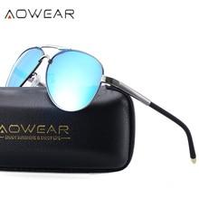 AOWEAR Moda Hombres Piloto Aviador gafas de Sol Polarizadas Espejo Gafas de Conducción para Los Hombres Oculos Gafas De Sol Hombre Gafas De Sol Mujer