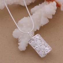 AN086 Hot 925 sterling silver Necklace 925 silver fashion jewelry pendant Rectangle shiny /gfmaowta akaajbha(China)