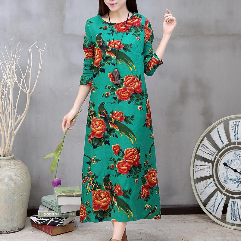 2016 spring autumn plus size clothing loose full dress fashion trend flower  national fluid long-sleeve Women Dress Party Dresses 8829a3b4da96