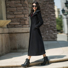 2016 Autumn and Winter Fashion Women's Long Wool Coat Balck Elegant Female Overcoat Single Breasted Slim S-4XL Woman Outwear