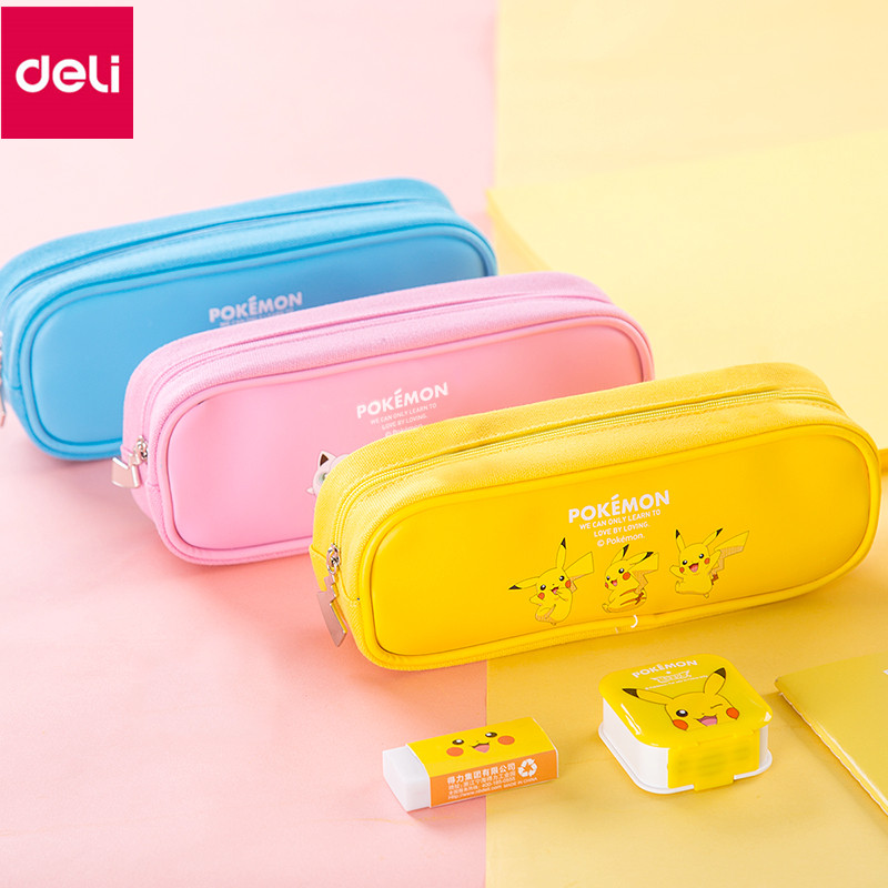 Deli 66731 Pikachu Series Pencil Bag Cartoon Pokemon Cute School Zipper Stationery Pencil Case Pencil Bag cartoon cosmetics bag pokemon go gravity purse bag received wallet makeup pencil pen case bag zelda pokemon ball purse bag wt004
