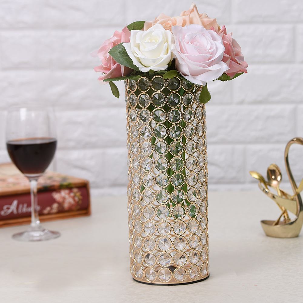 Gold Crystal Cylinder Glass Vases for Home Wedding Centerpieces ...