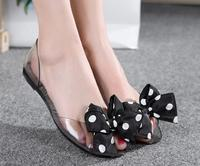 2017 NEW Women S Crystal Jelly Shoes Lady S Flat Garden Sandals Women Fashion Bow Sandals