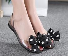 2017 NEW Women's crystal jelly shoes lady's flat garden sandals Women fashion bow sandals woman lace beach shoes