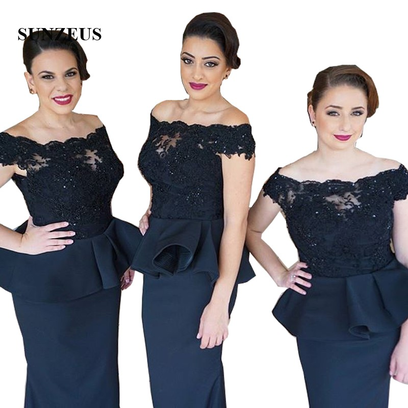 Navy Blue Mermaid Long Wedding Party   Dresses   for   Bridesmaid   Boat Neck Peplum Appliques with Beaded   Bridesmaid     Dress   SBD37