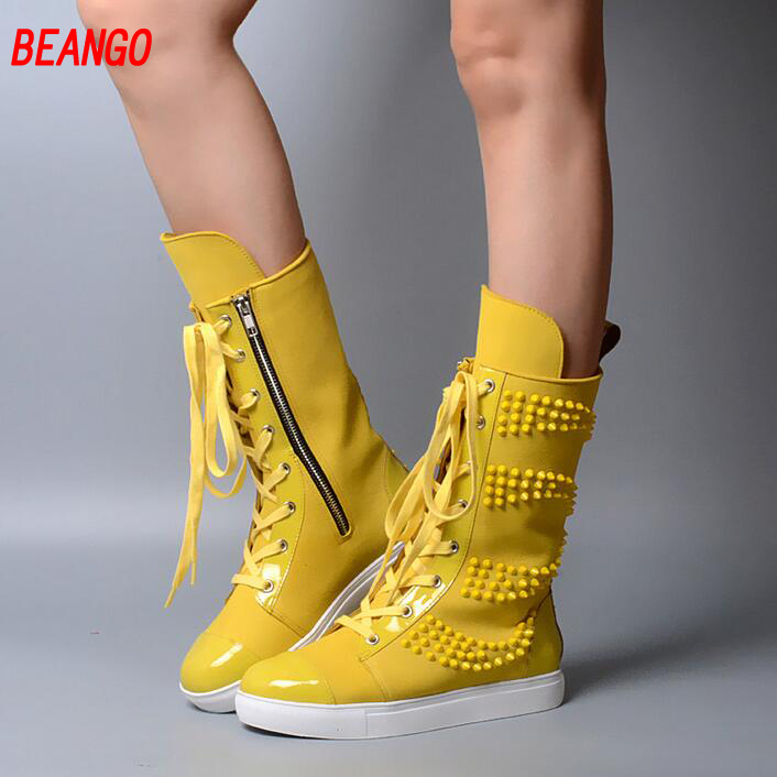 BEANGO Rivets Lace Up Platform Women Shoes Mid-Calf Motorcycle Boots Real Leather Flat Shoes Woman New Gladiator Casual Shoes mabaiwan handmade rivets military cowboy boots mid calf genuine leather women motorcycle boots vintage buckle straps shoes woman