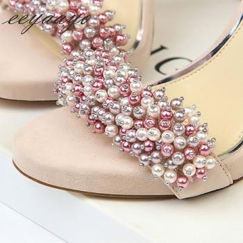 Heel Buckle Solid Pearl High Heel Sandals 3
