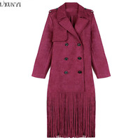 LXUNYI 2018 Autumn Woman Long Trench New Red Womens Suede Coats Double Breasted Long Sleeve Tassels