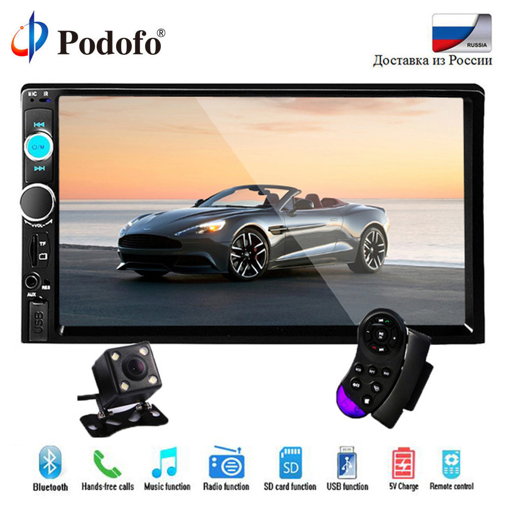 Podofo 2 din coche Radio 7 HD Autoradio Multimedia Player 2DIN de pantalla táctil Auto audio estéreo de coche MP5 Bluetooth TF USB FM Cámara