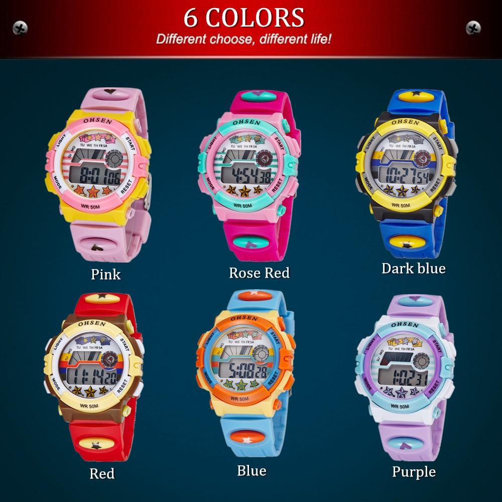2016 OHSEN digital LCD kids girls fashion wristwatch cute red ...