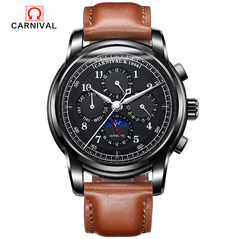 2017 Carnival Men automatic mechanical Watches Luxury Brand Waterproof Watch Multifunction military genuine leather strap new carnival moon phase hot automatic mechanical brand watches men s military waterproof luxury full steel watch leather strap