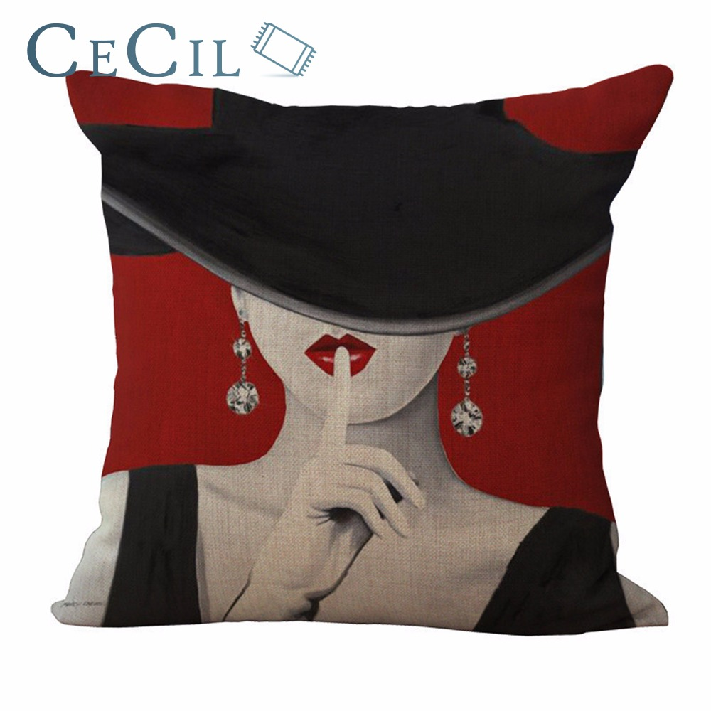 Vintage Oil Painting Black Hat Woman Cushion Cover High Heels Cotton Linen Throw Pillow Case Romantic Home Decor Sofa Bedroom ...