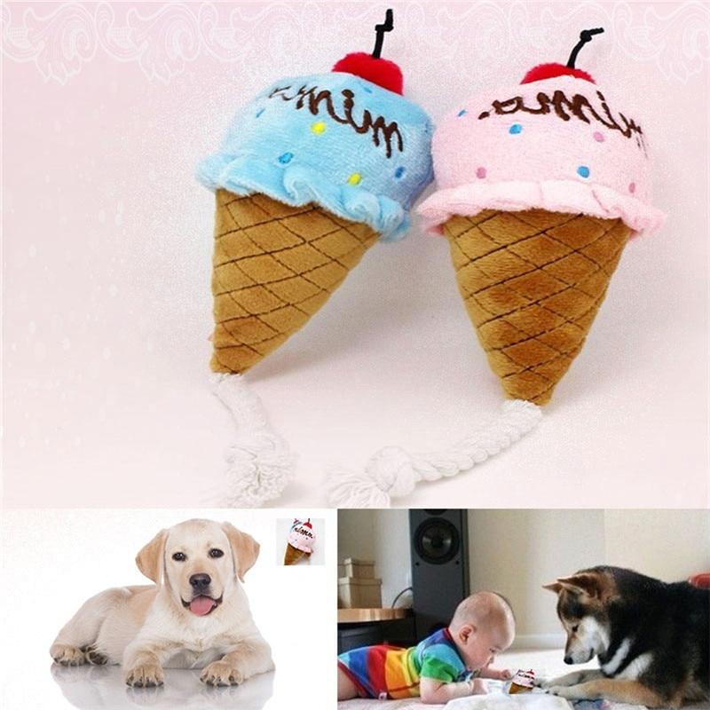 1 Piece Cute Pet Toys Molar Sound Bite Resistant Ice Cream Cone Design Sweet Small Animal Toys WA356 P30