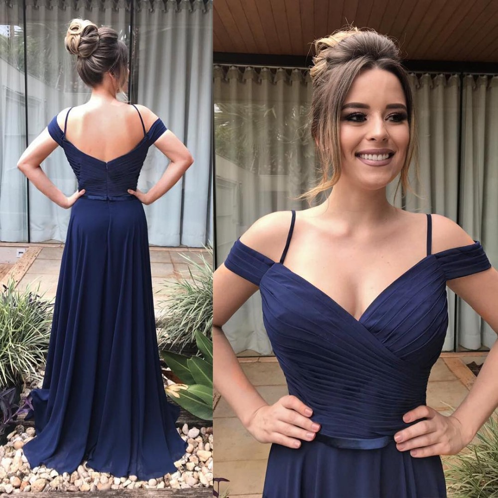 Vestidos De Festa 2019 Sexy V-Neck Backless Chiffon Long   Prom     Dresses   Charming A-Line   Prom   Gowns with Belt Off the Shoulder