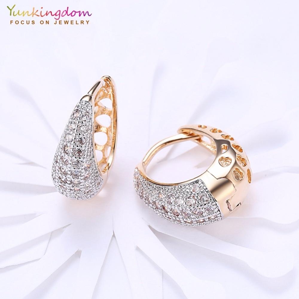 Yunkingdom Water Drop Design Koło Hoop Kolczyki dla Kobiet Elegancka - Modna biżuteria - Zdjęcie 4