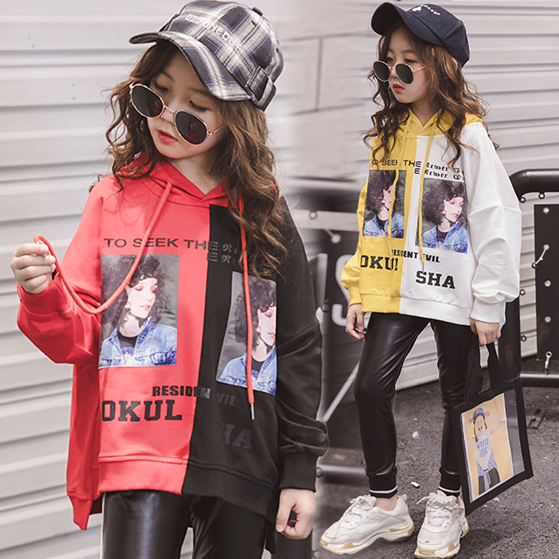цена на Clothes Set For Girls 2018 Fall Teenagers Baby Girls Boutique Outfits Print Long Sleeve Hooded Sweatshirt + Leather Pant 8 10 12