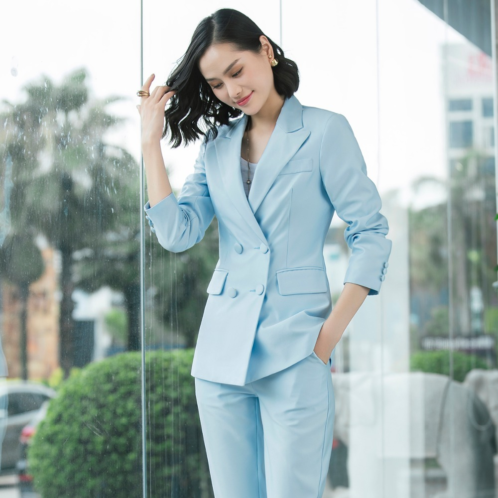 Elegant Long ladies blazer with buttons Women Solid Jacket of high quality Fashion Outwear coat Black Pink White;Blue Champagne 3