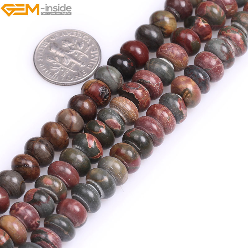 Natural Rondelle Smooth Picasso Jaspers Beads Spacer Stone Beads For Jewelry Making Bracelet Necklace Strand 15 DIY Jewellery