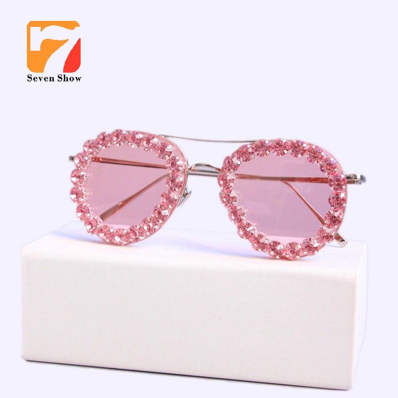 Women Luxury Brand Sunglasses Jewelry Pink glisten Rhinestone Decoration pilot Sunglasses Vintage Shades Eyewear gafas de sol