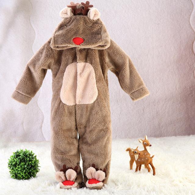 Marca Caliente Niño Recién Nacido Mamelucos Del Bebé Otoño Invierno Ropa de Bebé De Franela Bebé Ropa Fleece Manga Larga Con Capucha CL0613