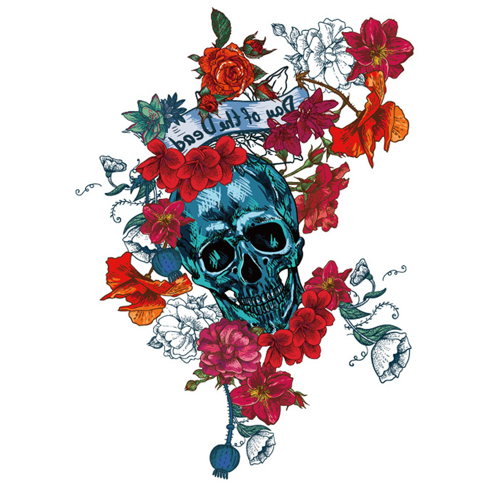 Yeeech Temporary Tattoos Sticker for Women Flower Skull Designs Fake Large Arm Leg Sexy Body Art Waterproof Long Lasting Makeup