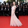 Atacado O 68o Cannes Film Festival Red Carpet Vestidos 2016 Vestido de Noite Bar Refaeli Rosa Com Decote Em V Tule Vestidos de Celebridades