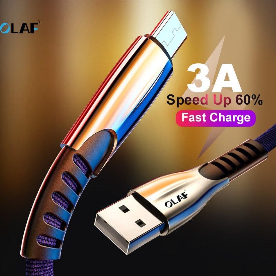 Câble Micro USB OLAF 3A pour Xiaomi 2 Redmi câbles USB pour téléphone portable charge rapide pour câble de transfert de synchronisation de données Samsung J5 J2