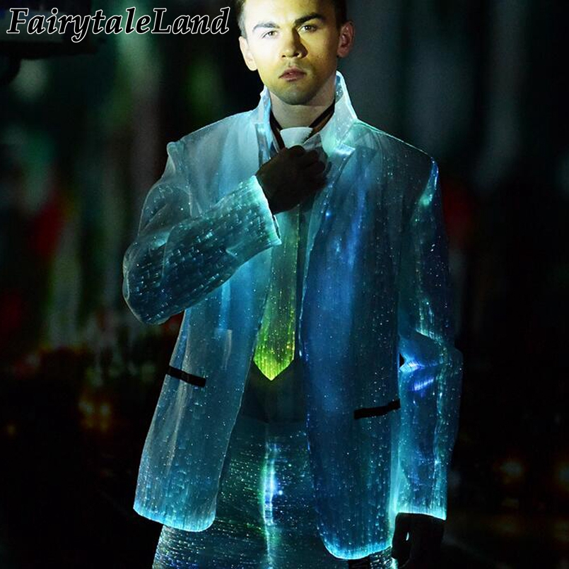 led luminous jacket Fiber Optic winter jacket casual men's business formal jacket Christmas Carnival Party RGB light coat