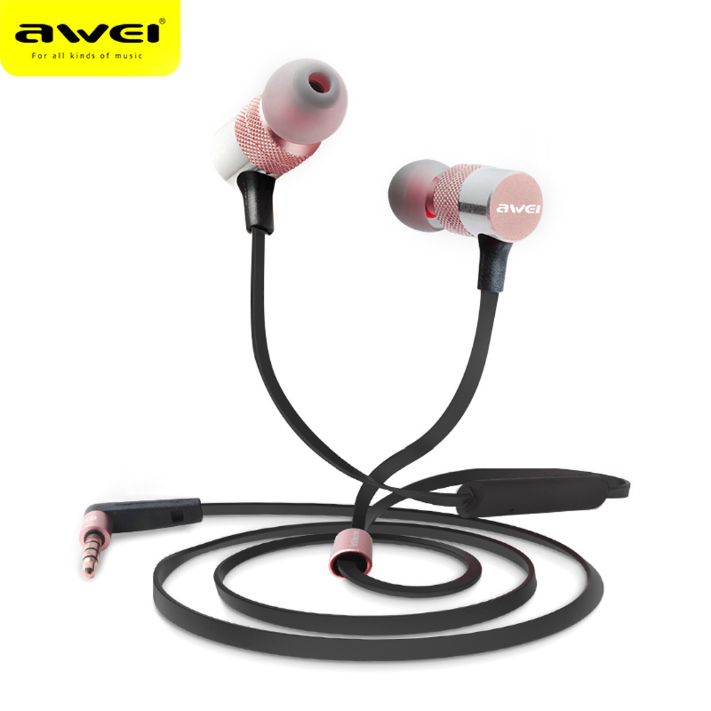 AWEI ES-20TY 1.2m Earphones Wired Stereo HiFi Music 3.5MM Plug Foldable In-Ear Support Microphone Noise Cancelling Fr Smartphone