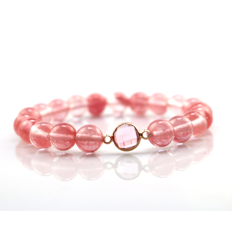 Pink Natural Zircon Crystal 8 mm Beads Women Lady's Bracelet Calcite Woman Gift Jewelry