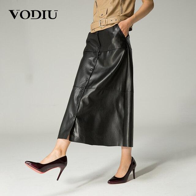 56b0693579b Vodiu длинная юбка макси кожаная юбка черные юбки женские Высокое качество  по щиколотку европейский стиль винтаж