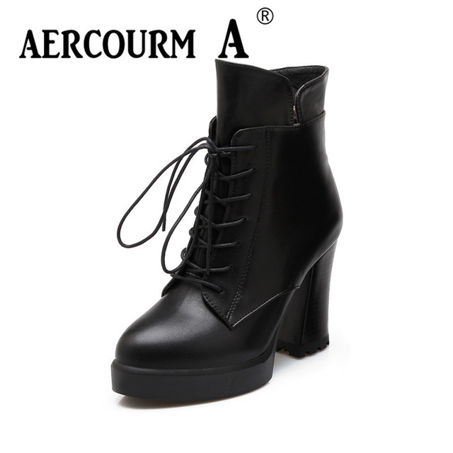 362b05a7216 Aercourm A 2018 Grils Winter Knight Boots Boots Women Ankle Waterproof  Platform Boots Plush Zipper Boots Black Wine Red Shoes