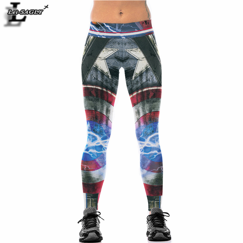 Lei-SAGLY Captain America Women Sportswear Leggings Fashion Sexy Elastic Workout Legins Legging Brand Bodybuilding Pants AS85