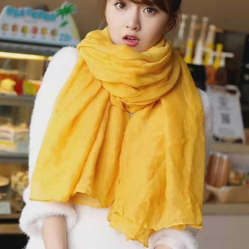 אופנה 18 צבעים סתיו חורף צהוב כותנה צעיף נשים Hijabs המוסלמי צעיף צעיפי גבירותיי מוצק צבע פשתן צעיפים