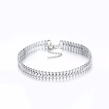 New Silver Color Crystal Artificial Diamonds Choker Necklace Gift For Women Party Weeding Jewelry NM3751 Chokers Necklaces
