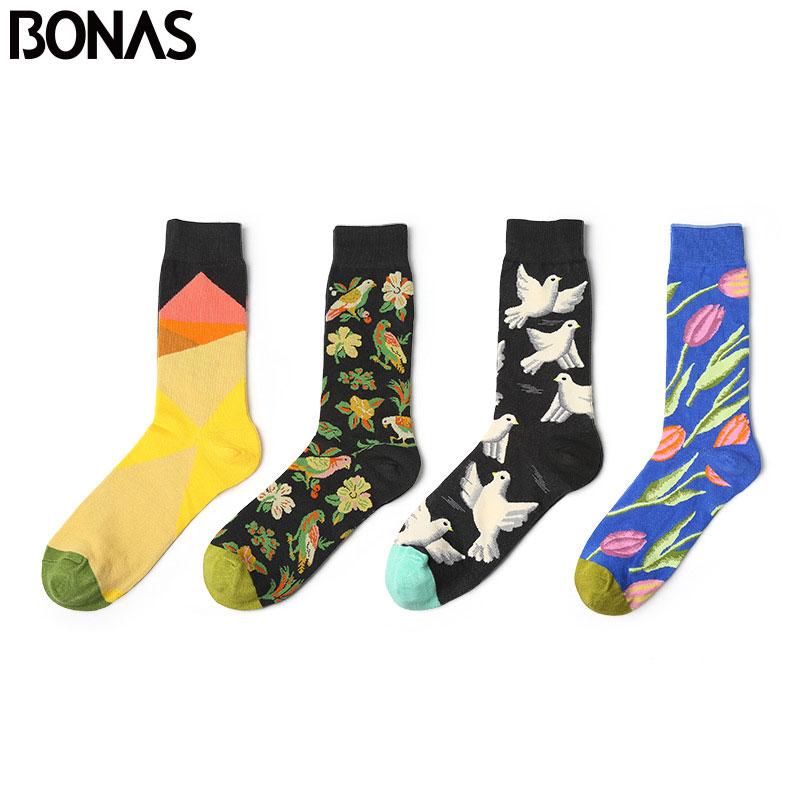 BONAS 4 Pair/Lot Graffiti series flowers and birds socks mens stockings Winter Happy Socks For Men Crew