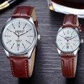 2 pcs/1 par Casal relógios 2016 marca de luxo quente homens mulheres relógio relógio Automático presente Movimento de Quartzo Data Tiras de couro relógios de Pulso