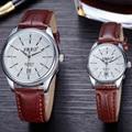 2pcs/1pair Couple watches 2016 luxury brand hot men clock women watch gift Auto Date Quartz Movement Leather Straps Wristwatches