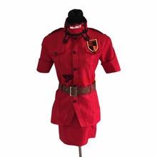 лучшая цена Anime Hellsing Herushingu Seras Victoria Red Cosplay Costume with Socks Custom Made Any Size