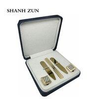 Shanh Зун Нержавеющаясталь Для мужчин классические золотые запонки и галстук бар воротник остается набор для французского манжеты Сорочки в...