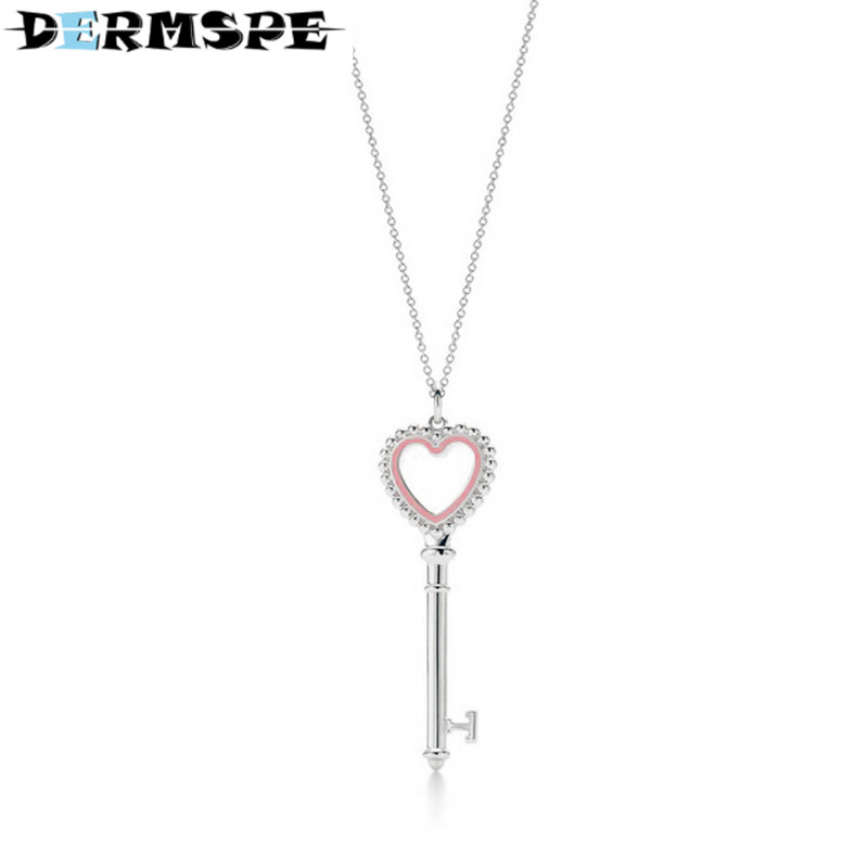 DERMSPE TIFF 925 Streling silver Trendy Heart Pendant  Pink key Charm Bead Women Necklace Jewelry