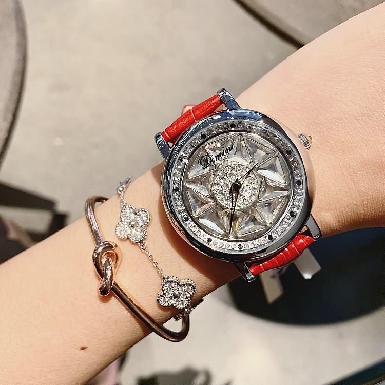 2019 Fashion Designer Brand Luxury Watch Women Leather Strap Diamond Women Dress Watch Crystal Shiny Women Watches Quartz