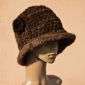 Mink Knitted Hat Winter women's fashion large real brim flower mink fur hat